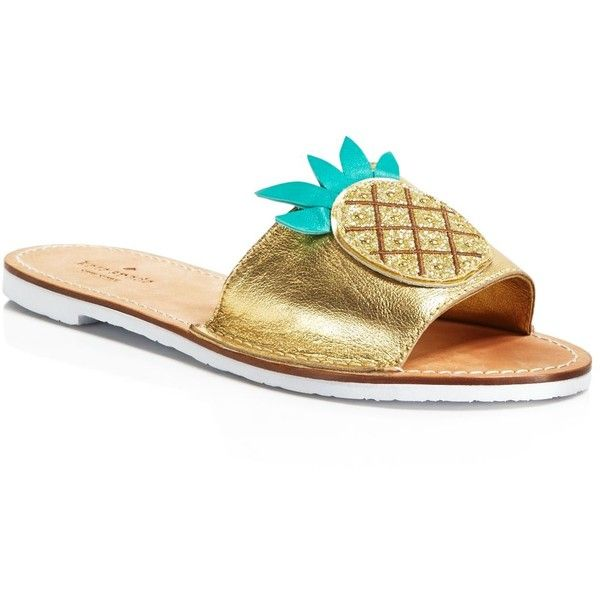 eb887166f2e kate spade new york Ibis Embroidered Pineapple Slide Sandals ( 83) ❤ liked  on Polyvore featuring shoes
