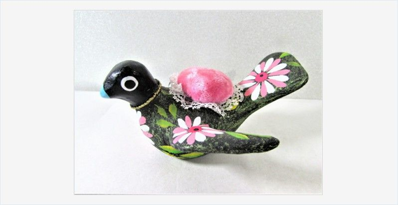 #Pottery #Bird #PinCushion Painted Flowers #FolkArt #vintage