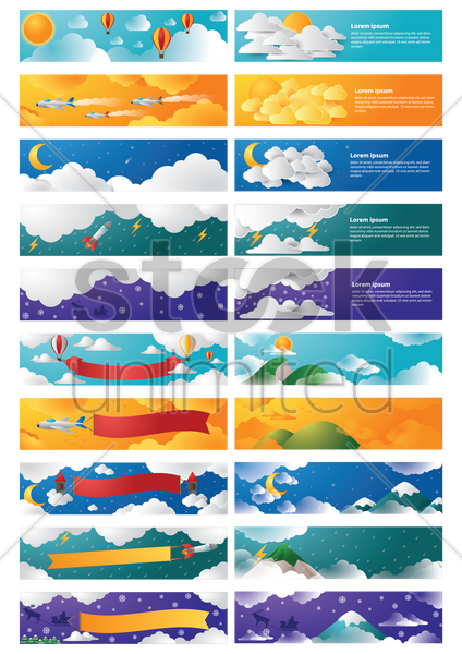 collection of various banners Stock Vector