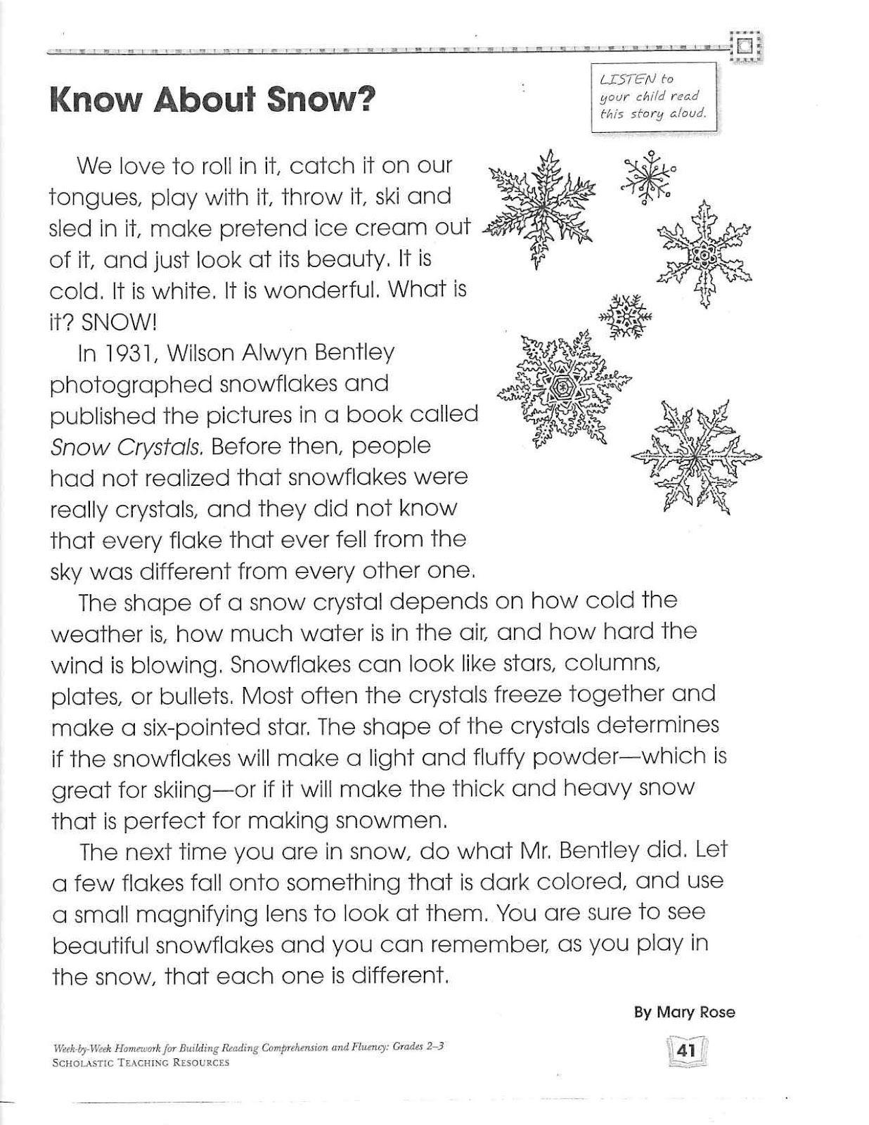 Second Grade Science Close Read