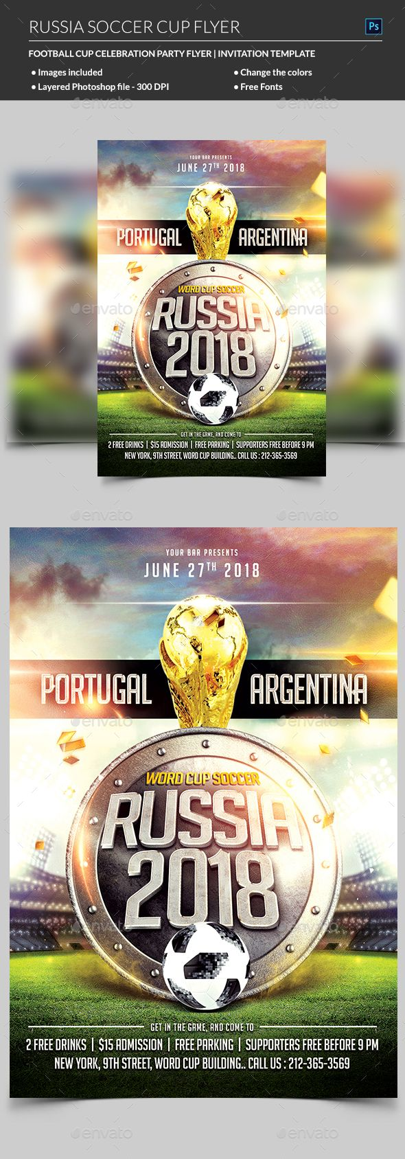 Russia World Cup Soccer Flyer Holidays Events