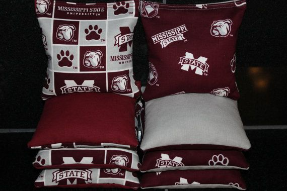 Cornhole Bags Made W Mississippi State Bulldogs Fabric 8