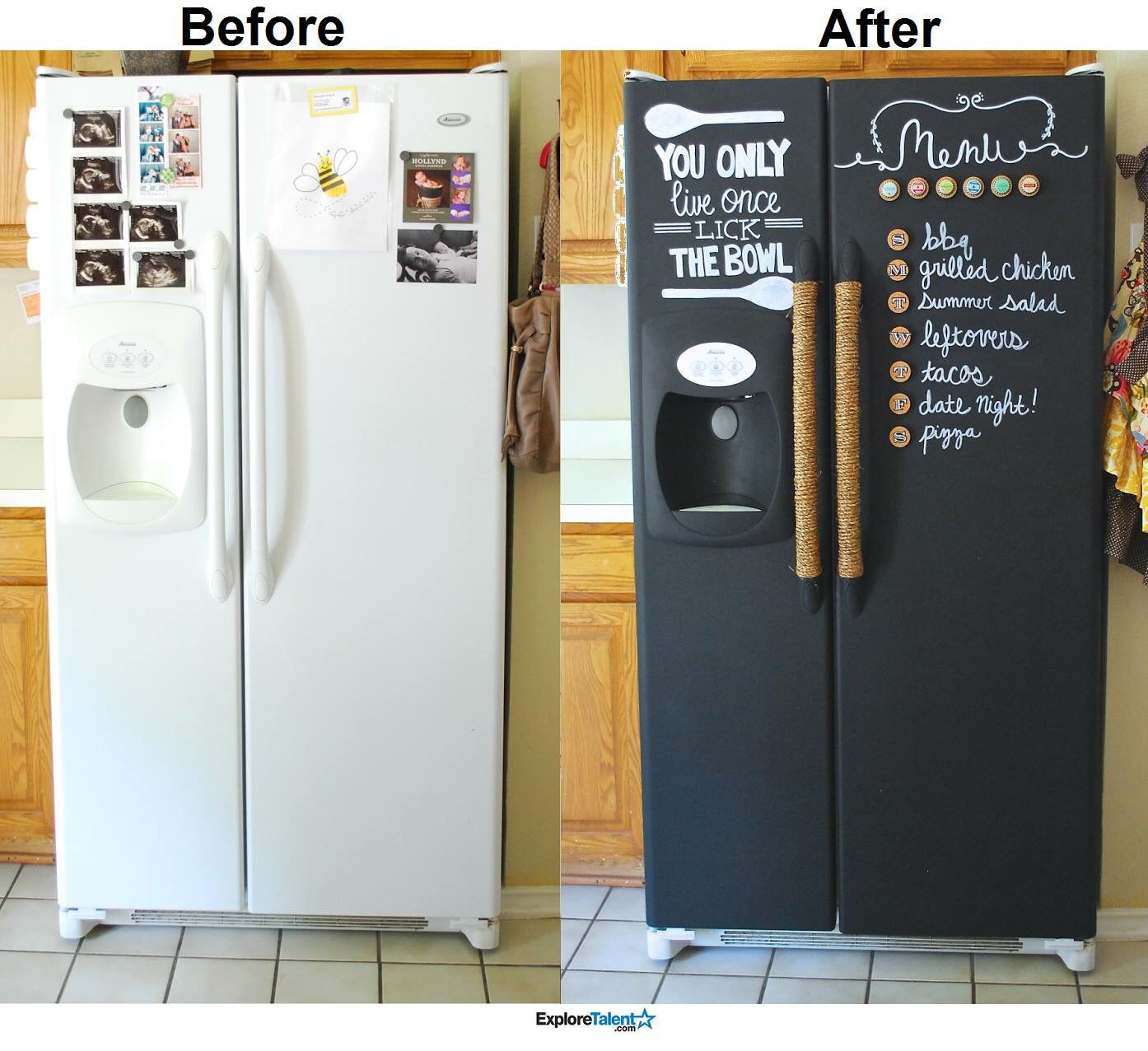 Diy Revamp Your Fridge Home Organization Hacks Fridge Makeover Painted Fridge
