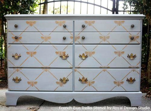 Stenciling Dresser Drawers With Royal Design Studio Stencils French Bee Trellis