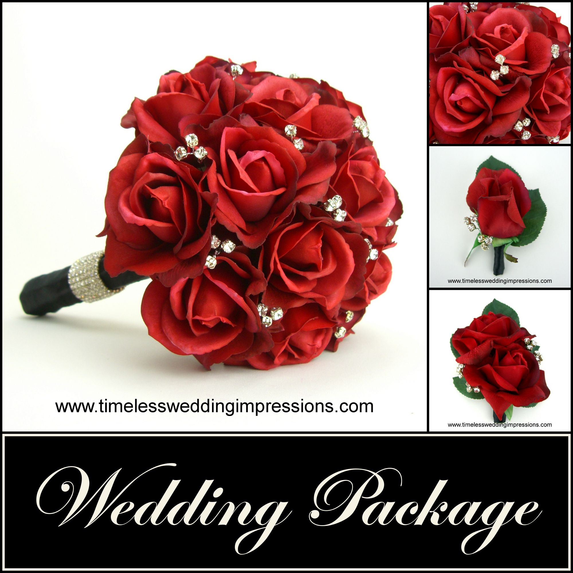 Red Rose Wedding Bouquet Package Bridal Bling Real Touch Silk Flowers
