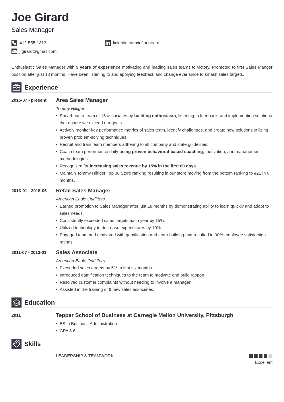 sales manager resume example template iconic in 2020