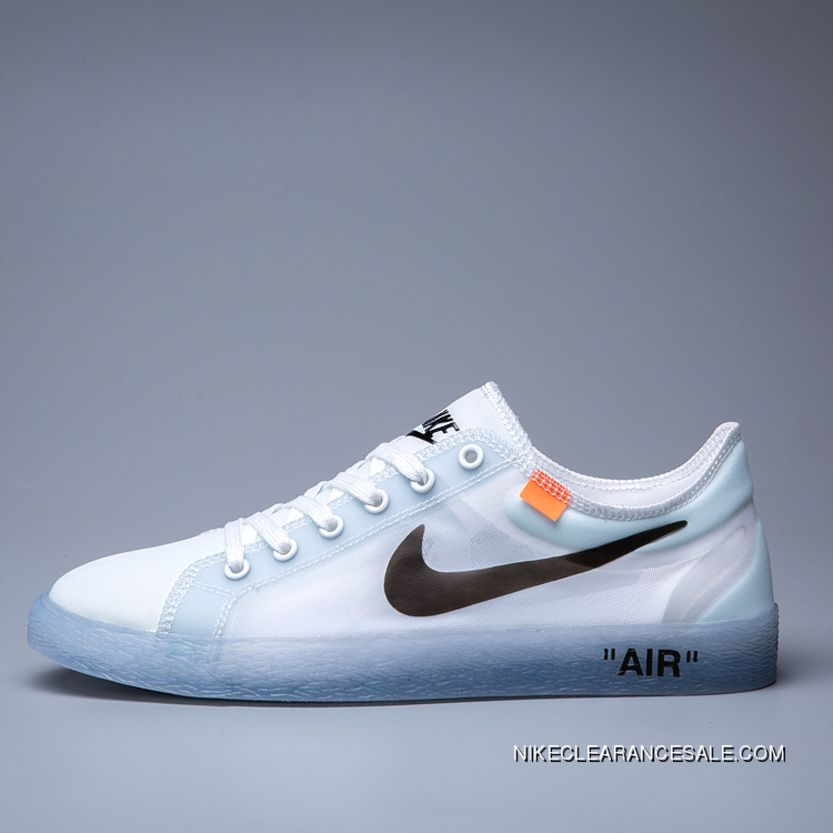 87f76127dde Off-White X Nike Blazer Low 2018 Ventilate Net Unisex Skateboard Shoes  White Clear Blue Black Top Deals