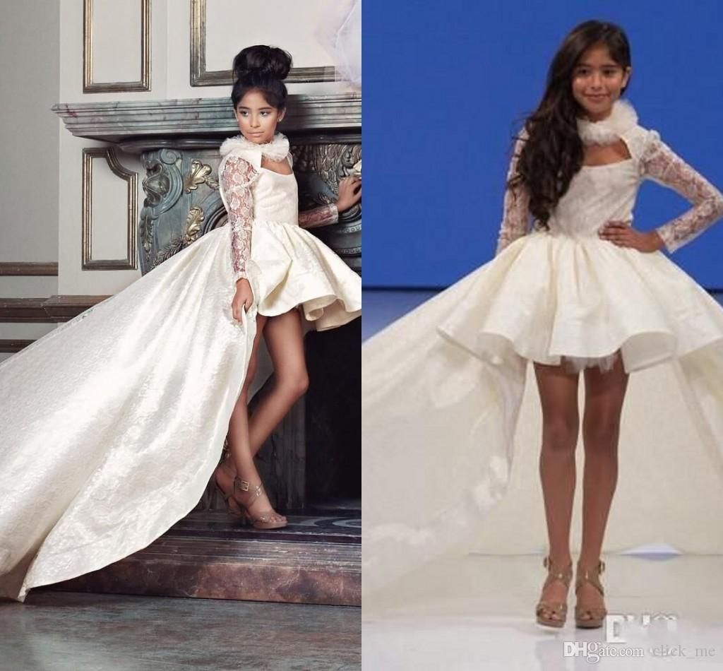 White Wedding Dress On Rent: Hi-Lo Girls Pageant Dresses For Teens Halter Satin Lace