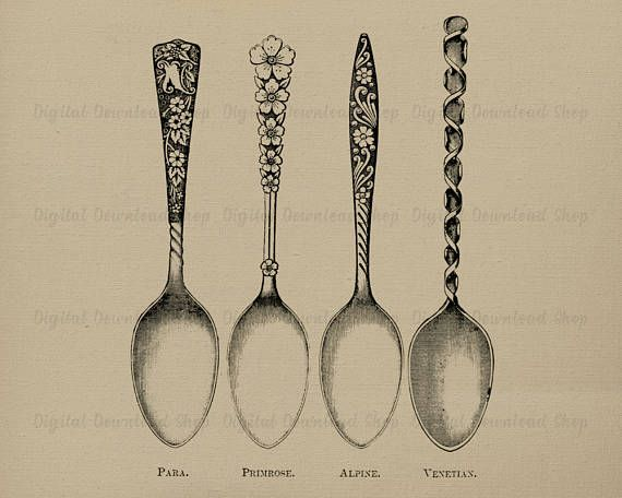 4 Spoons Vintage Printable Art Spoon Transfer Image Silverware Kitchen Dining Room Print Clipart Download