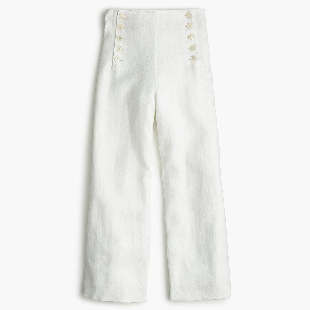 276e9999 J.Crew Womens Petite Sailor Pant In Heavy Linen (Size 000 Petite ...
