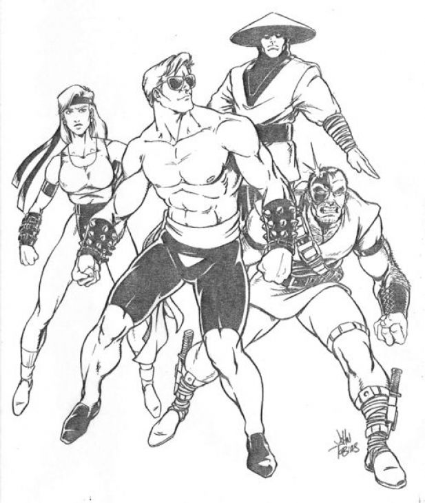 The Heroes From Mortal Kombat Classic Coloring Page | Fun Coloring ...