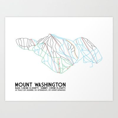 Mount Washington Alpine Resort, BC, Canada - Minimalist Trail Art Art Print by CircleSquareDiamond - $16.00