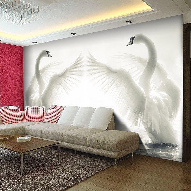 Pas cher romantique blanc cygnes photo papier peint grand Decor papier peint mural