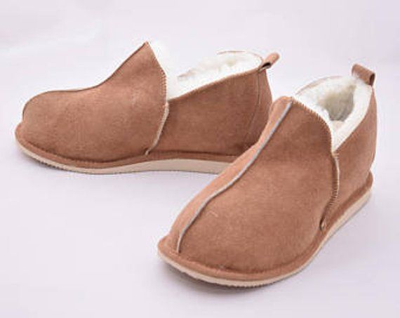 91df9fb7890 Sheepskin Men's slippers, Leather slippers, Boots, Ugg style, Warm ...