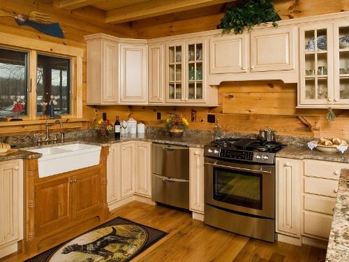 Updated cabin kitchens granite countertops log cabin for Cabin kitchen backsplash ideas