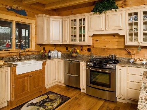 Updated Cabin Kitchens | Granite Countertops Log Cabin Kitchen