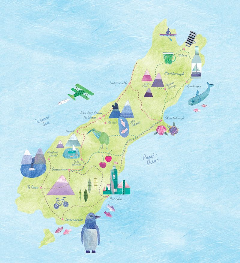 New Zealand South Island Travel Map Lianne Harrison map – New Zealand Tourist Map