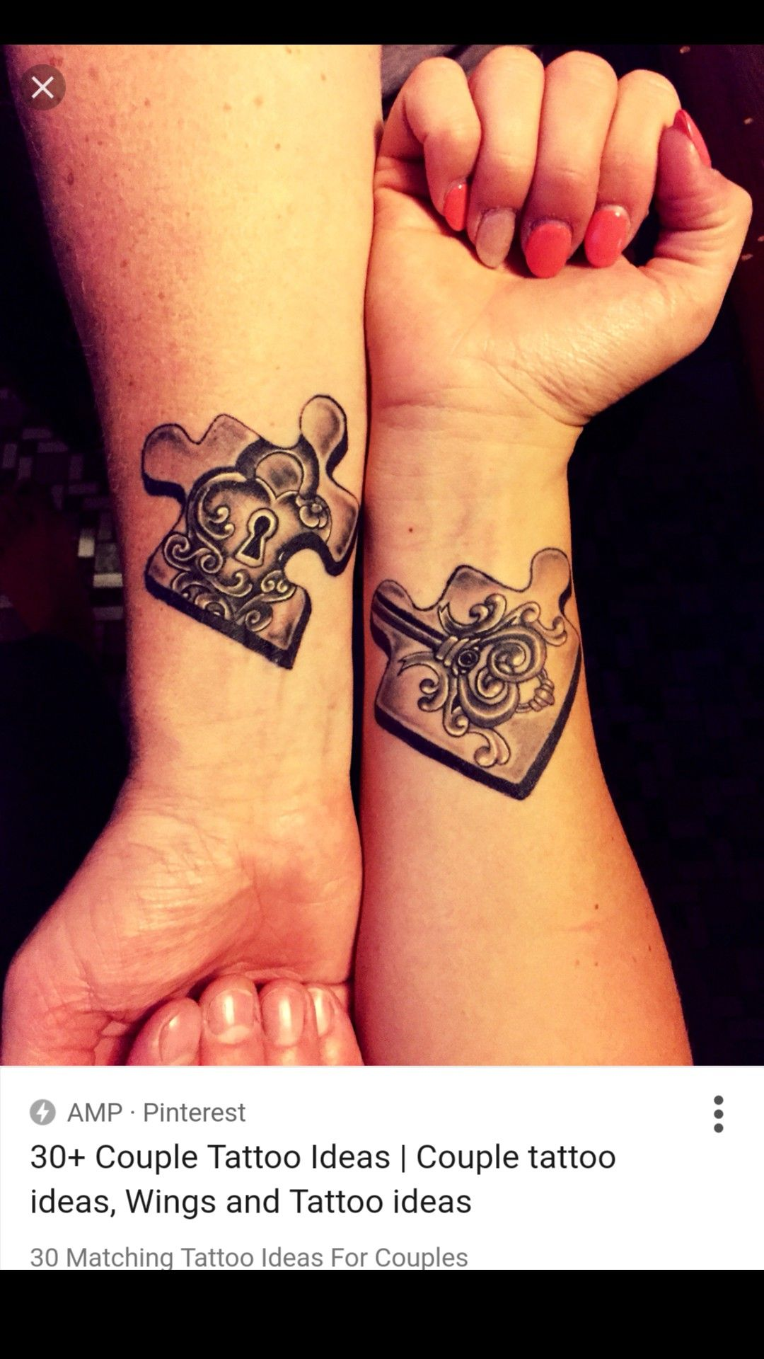 47a59c02b3cba Key Tattoos, Love Tattoos, Puzzle Tattoos, Twin Tattoos, Cute Couple Tattoos ,