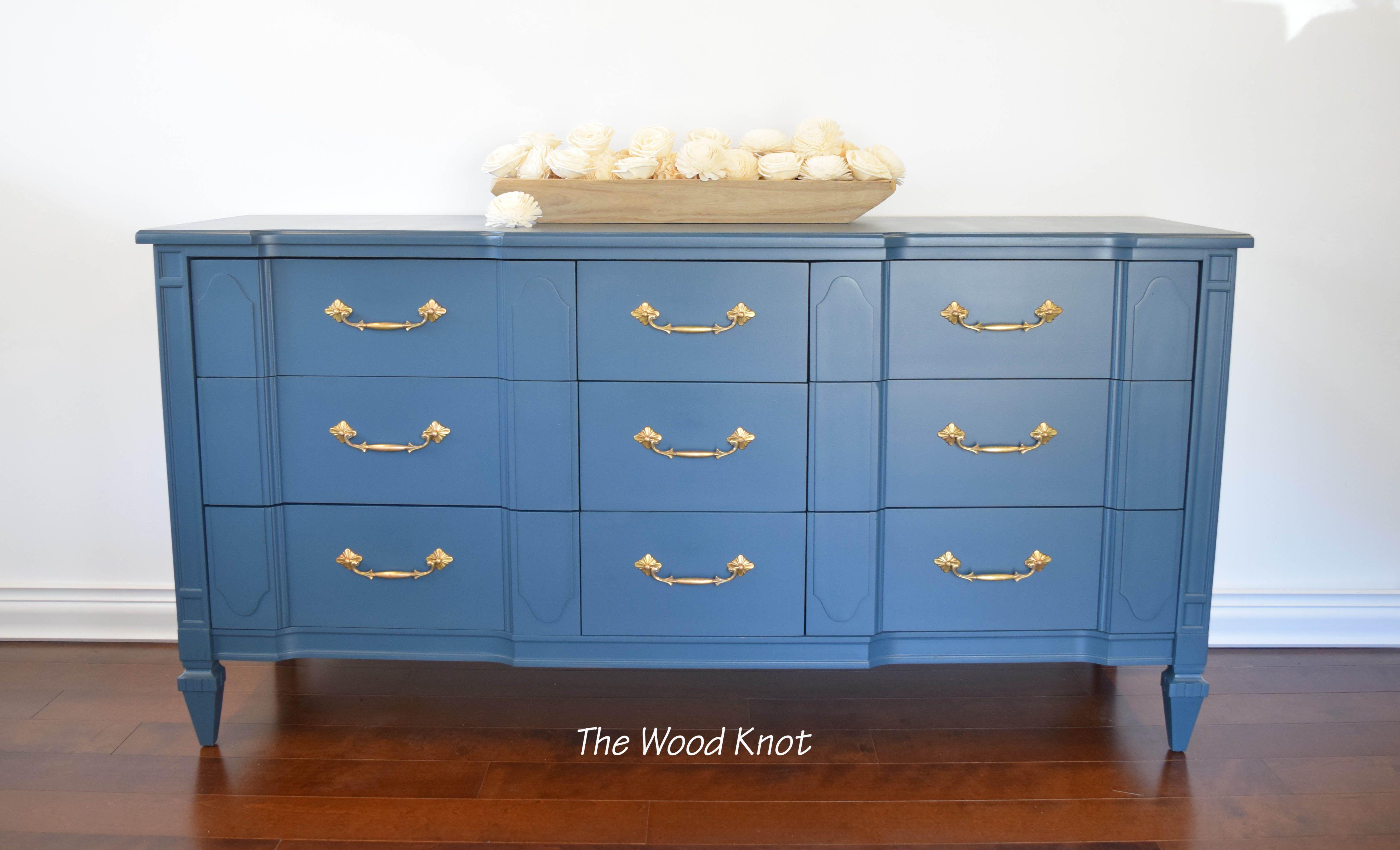 Mid Century Teal Blue Dresser Hand painted furniture