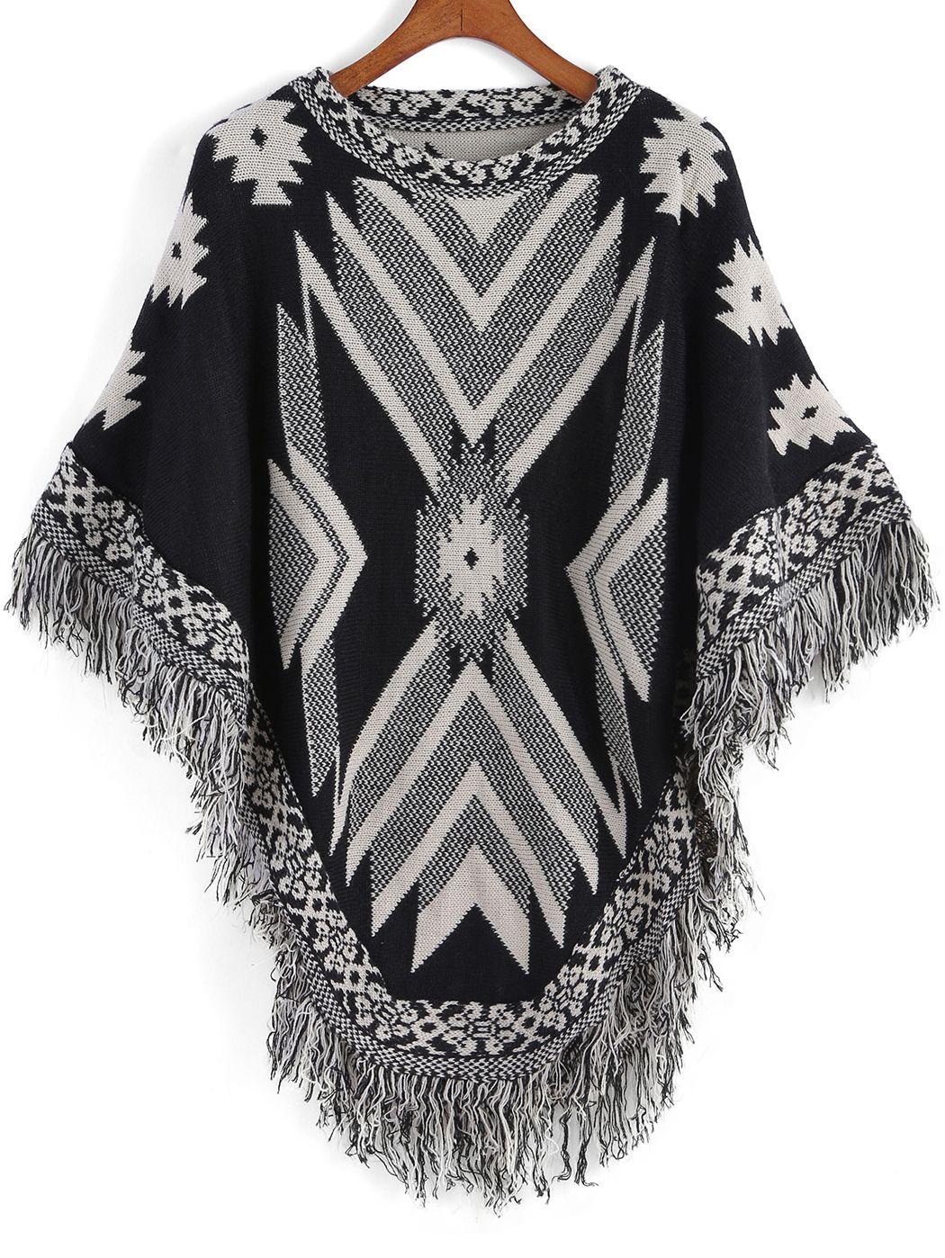 Black White Tribal Print Tassel Cape , 40% Off 1st Order