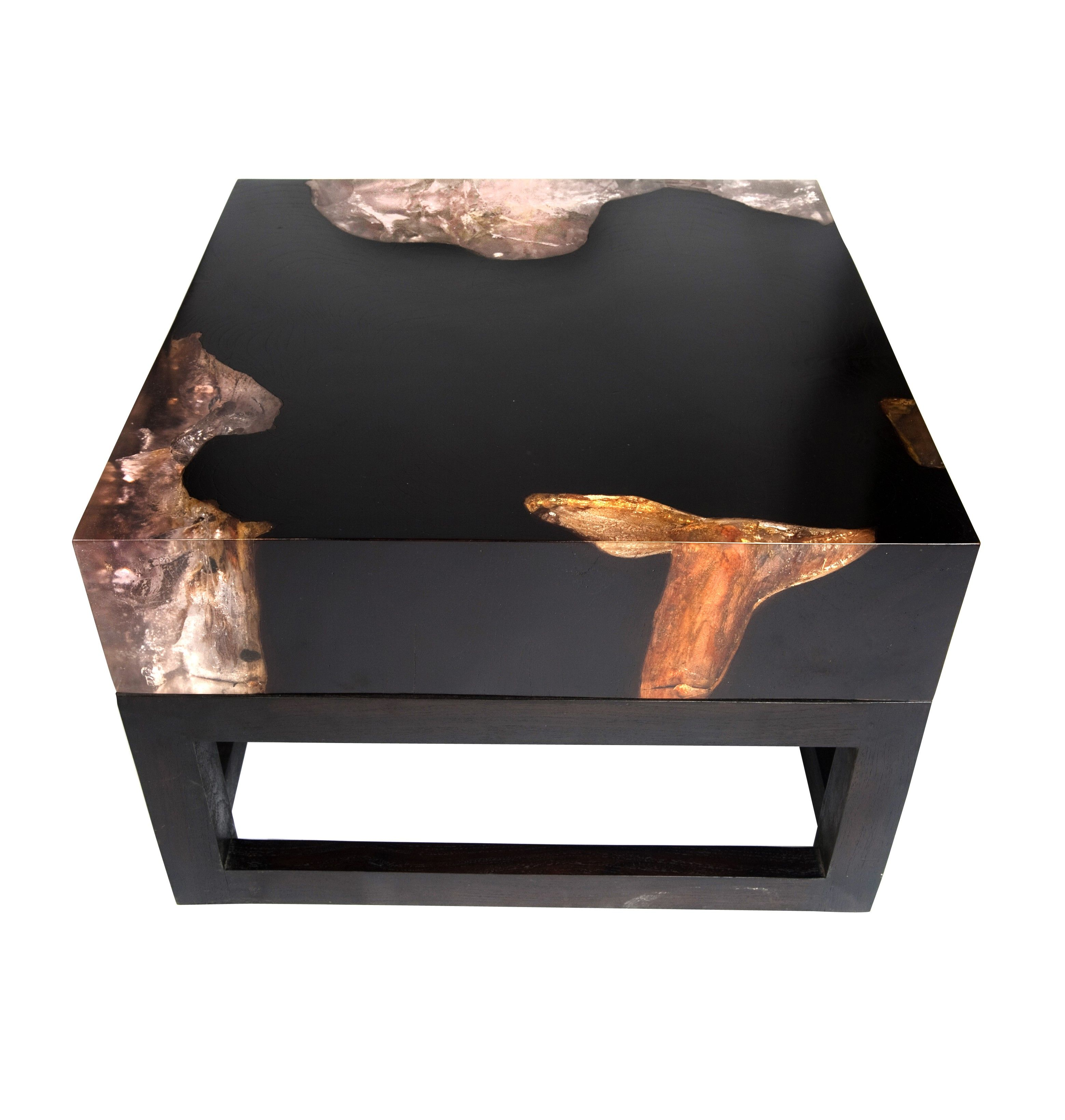 Reclaimed teak wood cracked resin side tables youtube - Teak Cracked Resin Table With Base Andrianna Shamaris
