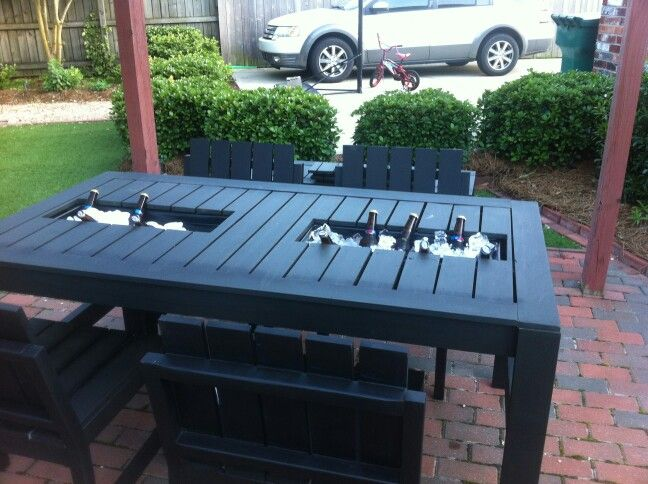 Outdoor Table With Built In Coolers.