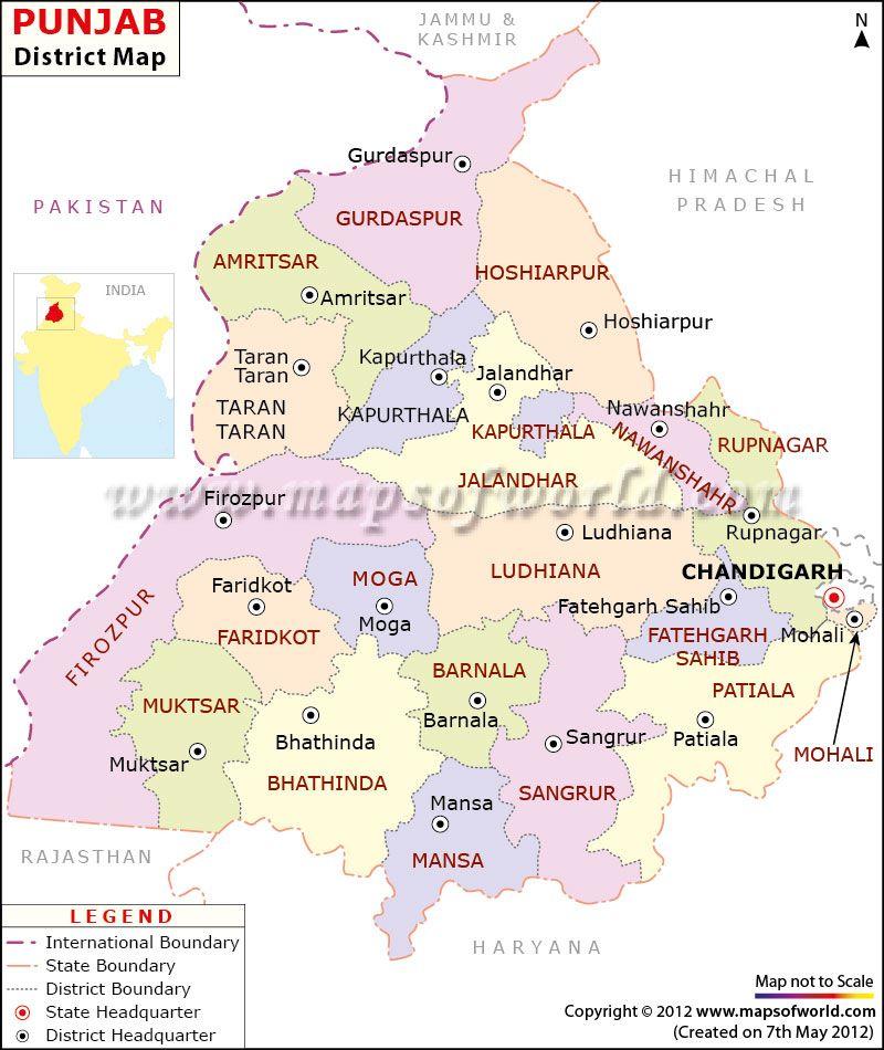 Punjab Map | Punjab in 2019 | India map, India tour, Map