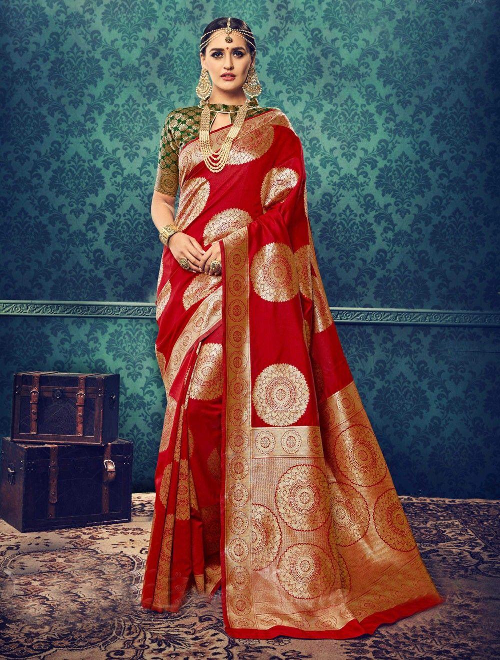 5816b43dce1ffd Beautiful Red cotton silk saree for indian weddings   Saree & Kurtha ...