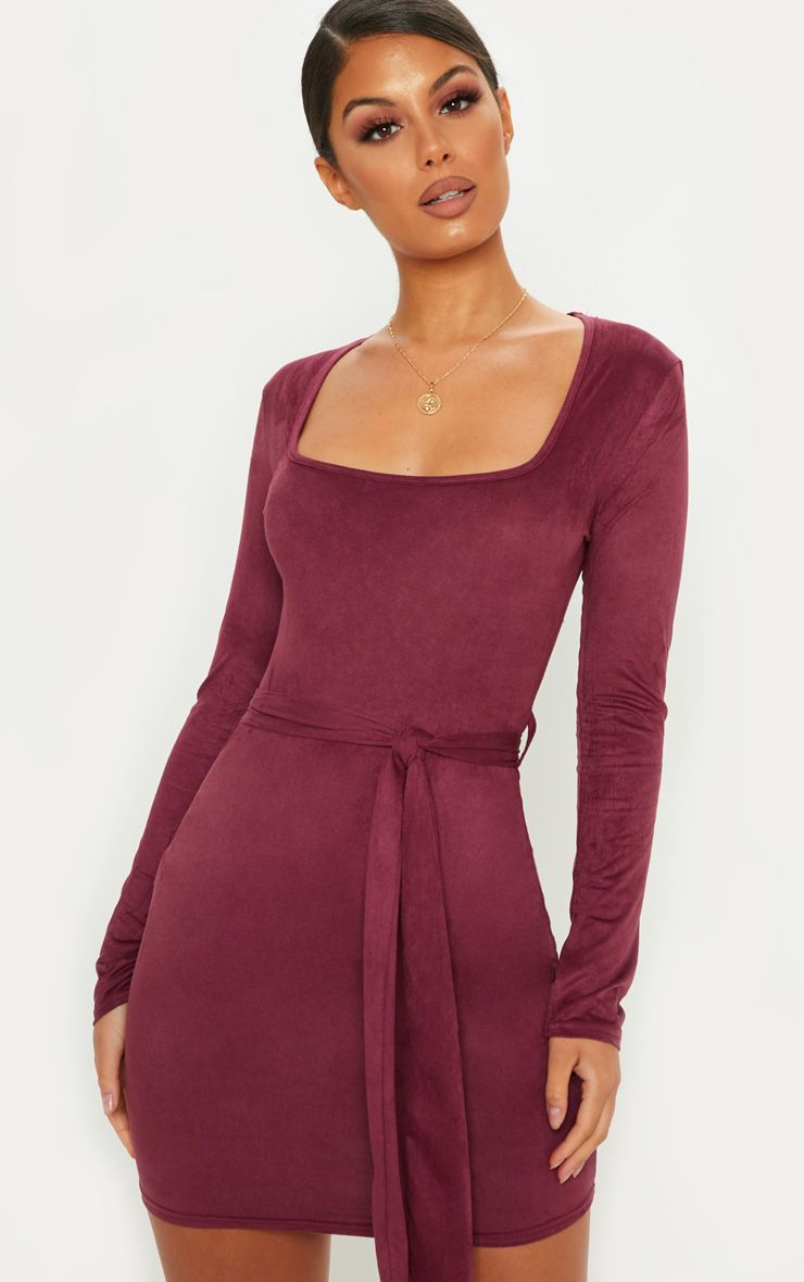 9c6346f3cf1f Wine Faux Suede Square Neck Belted Mini DressThis mini dress is one we're  crushing on. Featuring .