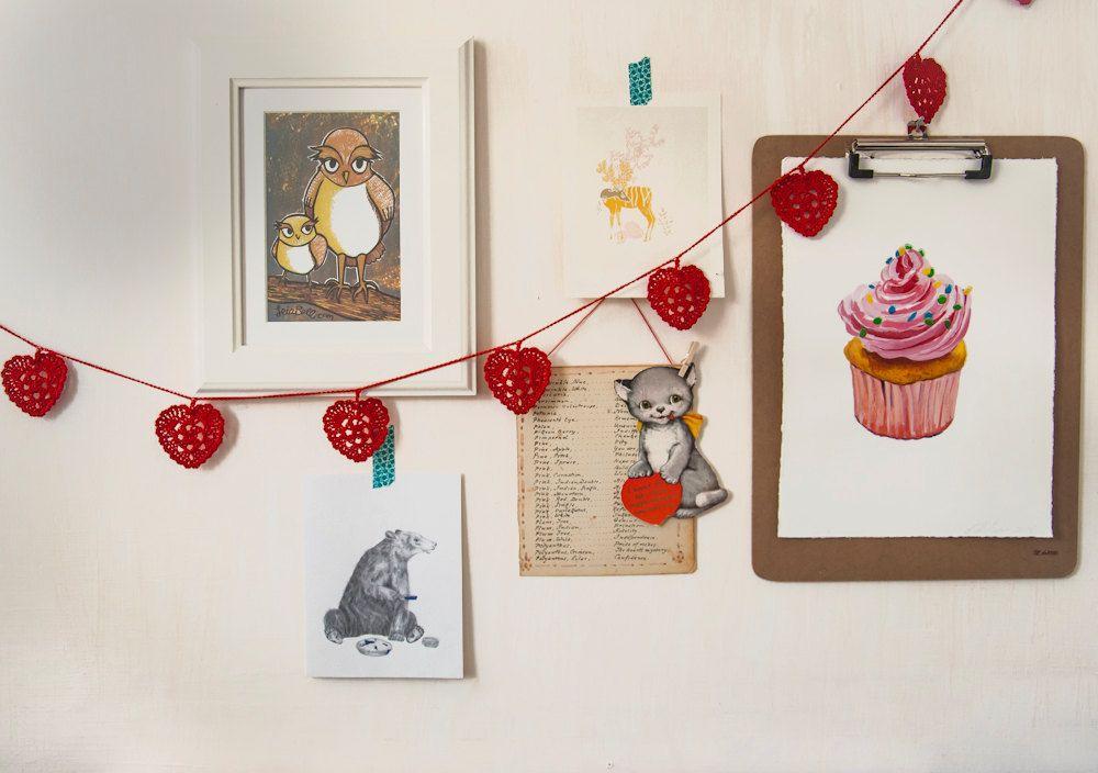 Crochet Heart Garland - Kitchen Decor.