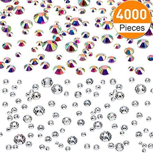 202802c27758 Boao 4000 Pieces Flatback Rhinestones Glass Round Gem Stones 6 Sizes 1.6-3  mm for Nail Art Phone Crafts DIY (Clear and Crystal AB Color)