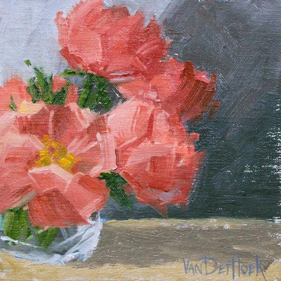 Pink Peonies  Original Impressionist Style Oil by vanderhoekart, $200.00