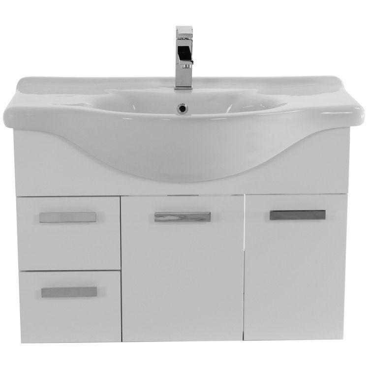 Bathroom Vanity, ACF PH69, 32 Inch Wall Mount Glossy White Bathroom