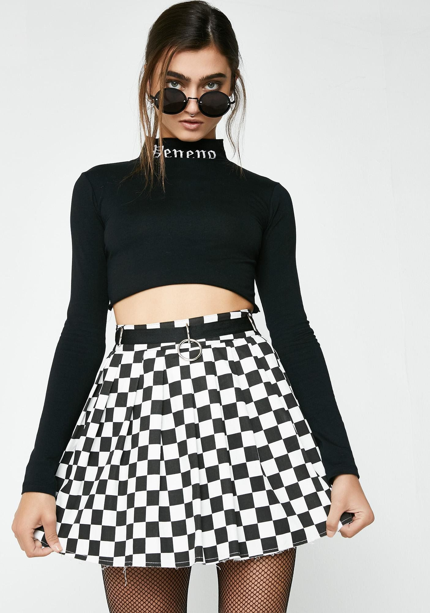 30bf9d5a635 Current Mood Fast N  Furious Checkered Skirt cuz you luv to go fast. This  dope af checkered mini skirt has raw af hems with a pleated design