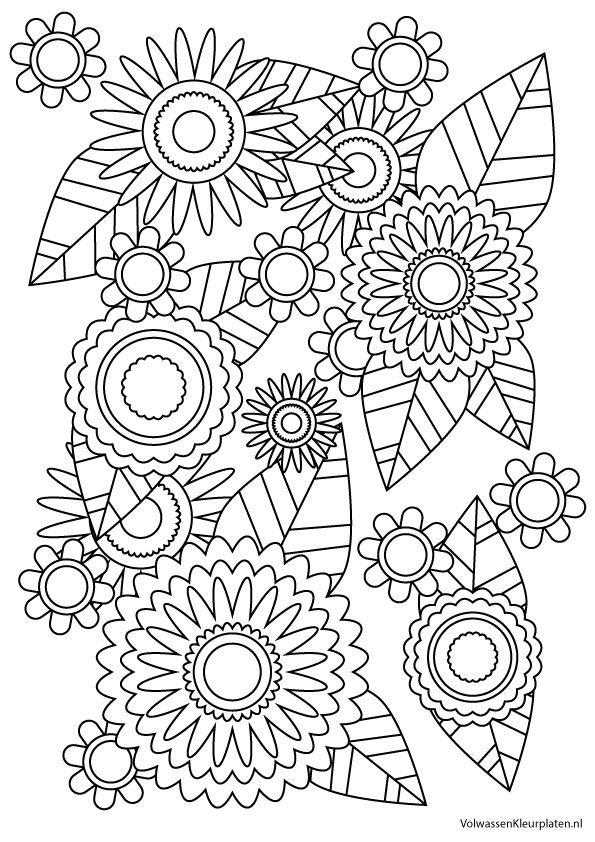 volwassen kleurplaat bloem 2 volwassen kleurplaten