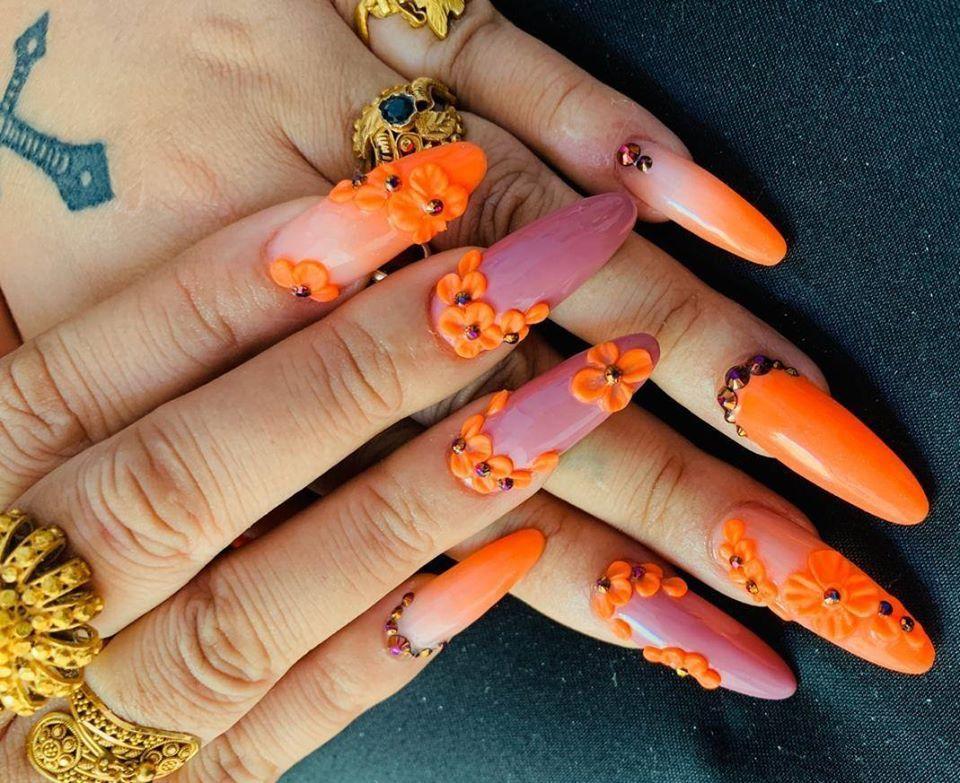 4d Gel Nail Art 3d Gel Nail Art In 2020 Best Nail Salon Bridal Nail Art Gel Nail Art