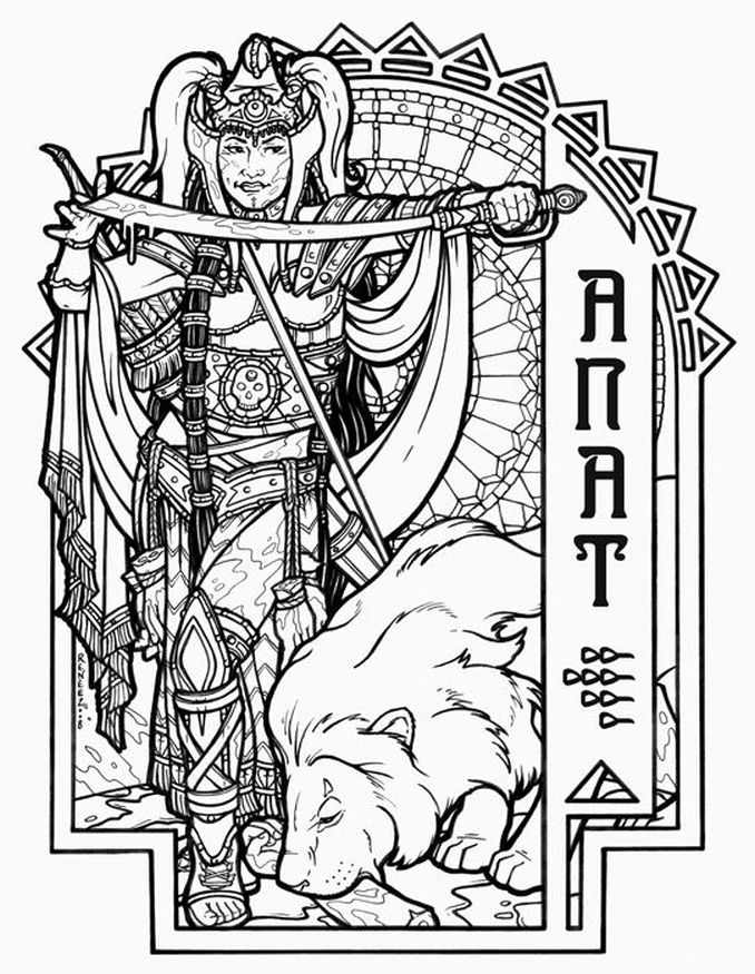 Anat Canaanite war goddess challenging coloring pages for adults
