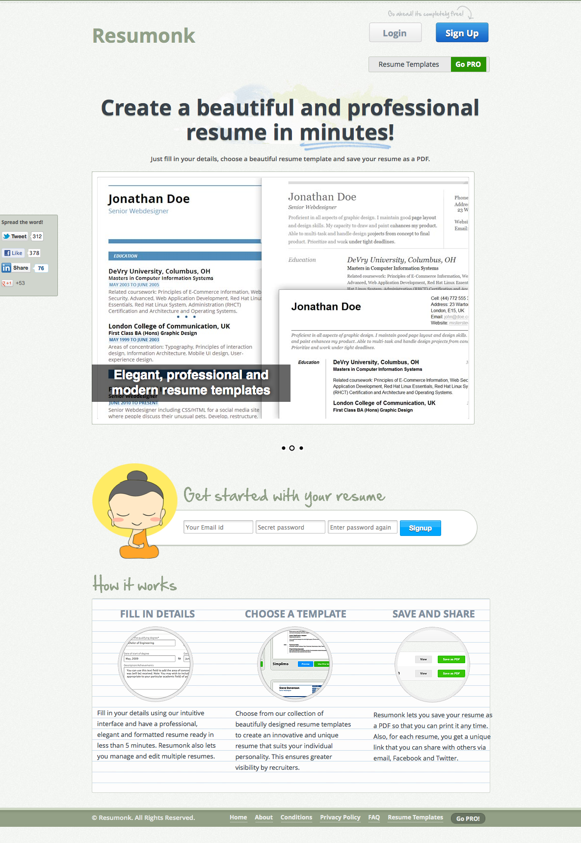 Resumonk Create a beautiful and professional resume in