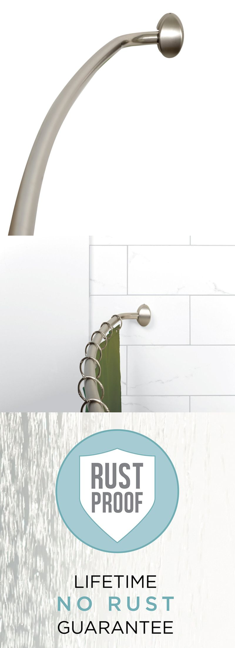 Shower Curtain Rods 168132: Zenna Home E35603bn01, Neverrust Aluminum Curved  Shower Curtain Rod,
