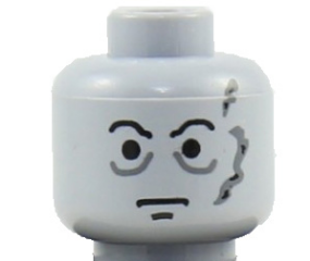 Lego New Minifig Head Forehead Lines Dark Bluish Gray Eyebrows and Moustache
