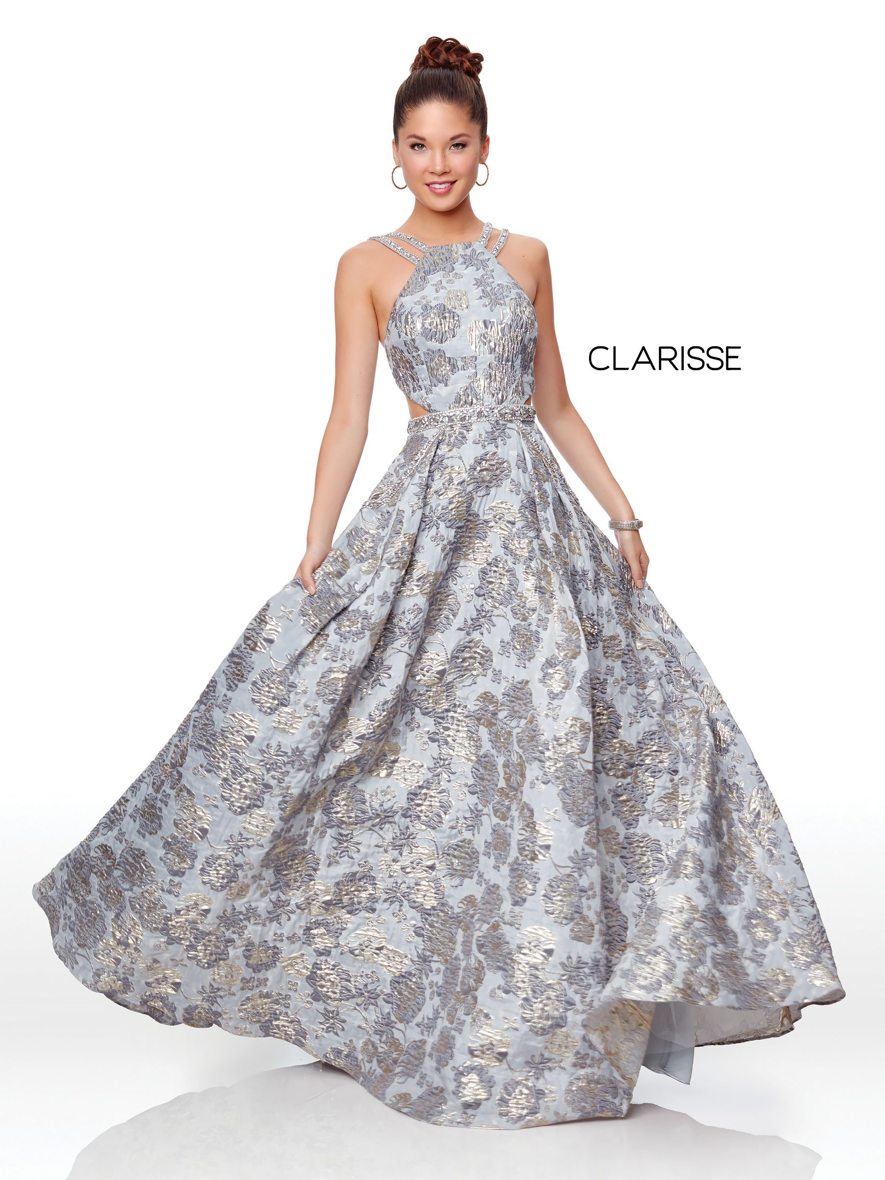 386714e4d3d9 5058 - Silver floral print ball gown with a high neckline and beaded belt