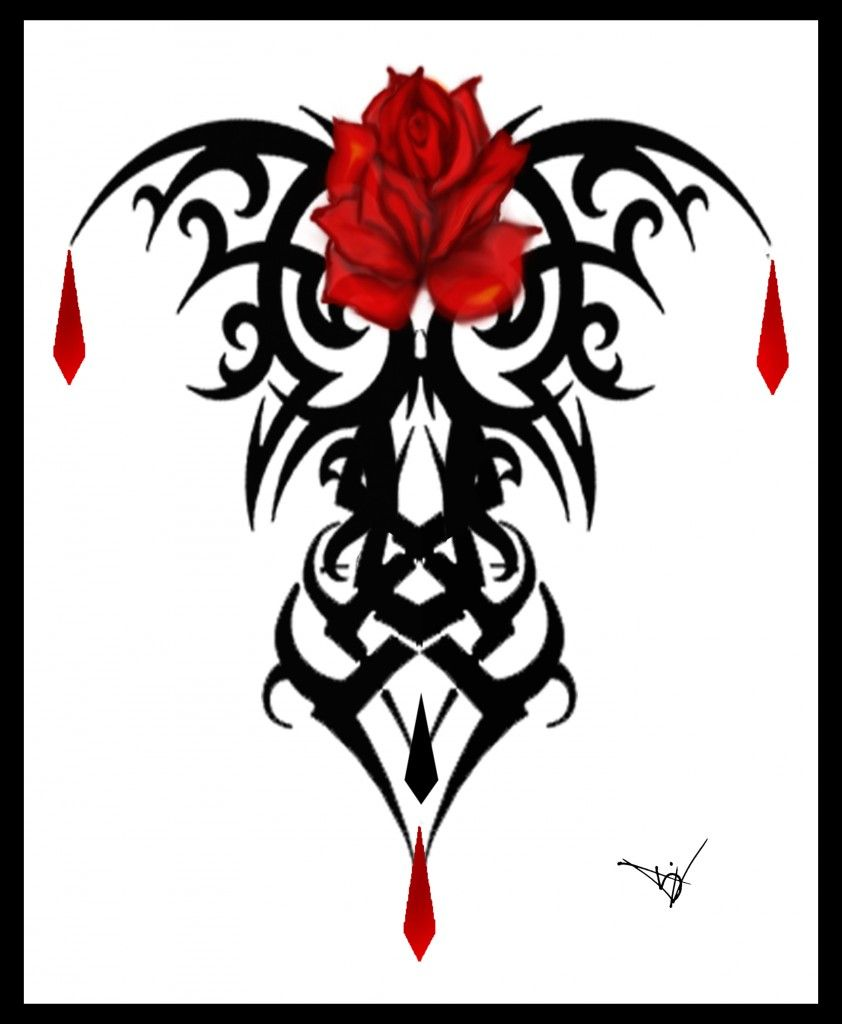 Gothic Designs gothic rose vine tattoo design photo - 1 | hummingbirds