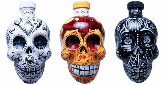 Decorated sugar skull Tequila bottles