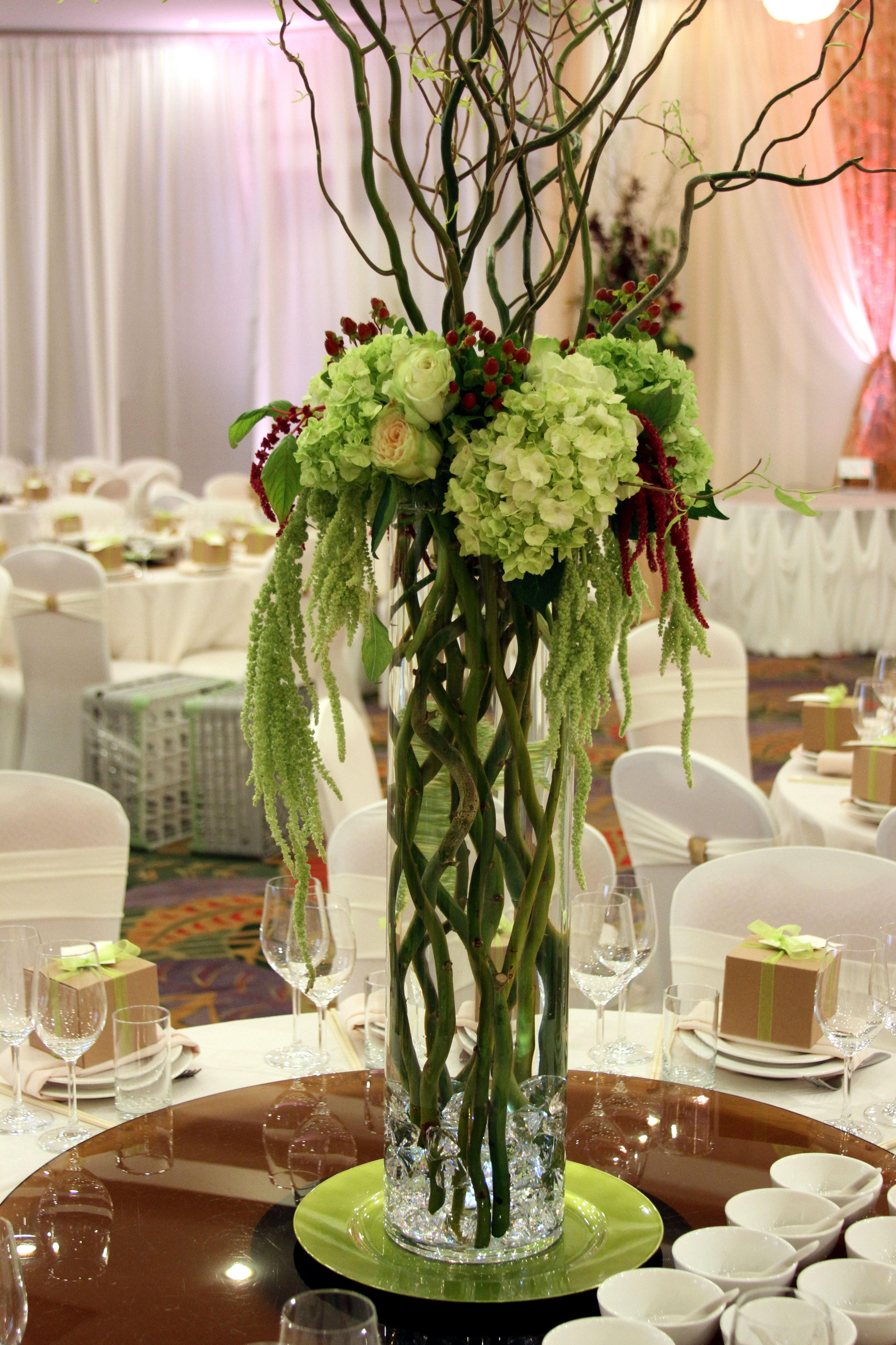 Tall Arrangements Of Budding Curly Willow With Collars Of Light Green Hydrangea Hangi Wedding Vase Centerpieces Large Flower Arrangements Wedding Centerpieces