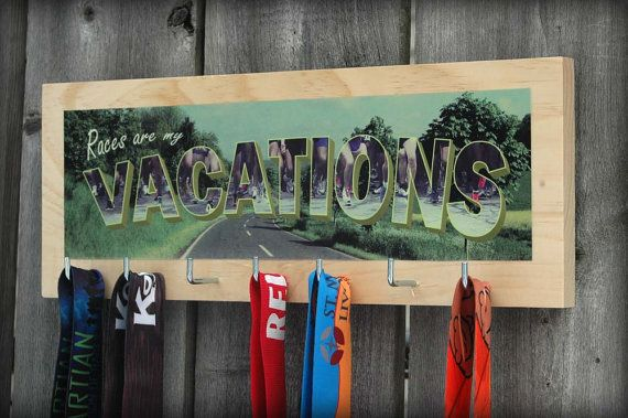 Wood Running Medal Holder Races Are My Vacations by LookAboutYou