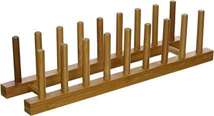 Lipper International 887 Bamboo Wood Plate Rack and Pot Lid Holder, 15-3/8 x 4-3/8 x 4: Painting Kitchen Cabinets.  Organize, store, and display your favorite plates and dishes #plateracks