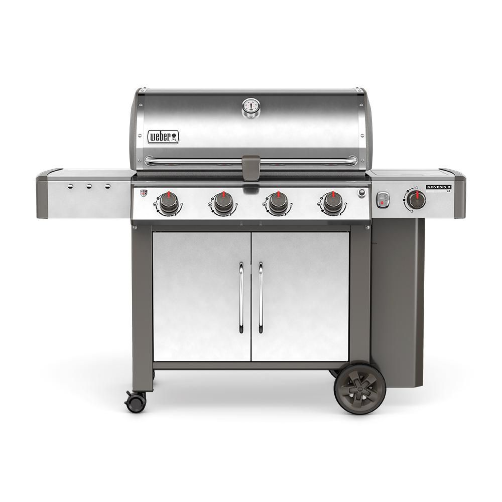 Weber Genesis Ii Lx S 440 4 Burner Propane Gas Grill In Stainless Steel With Built In Thermometer And Grill Light 62004001 The Home Depot Gas Grill Natural Gas Grill Best Gas Grills