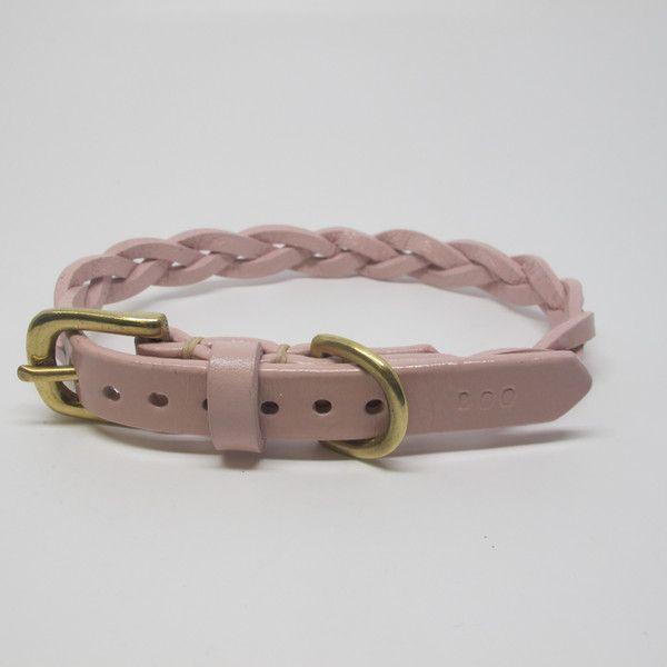 Pastel Pink Plaited Leather Dog Collar Girl Dog Collars Puppy