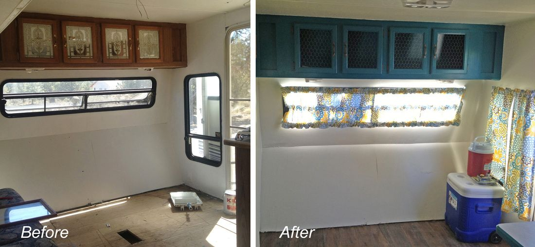 Remodel RV Firth Wheel Camper. Replace Mirror Cabinets With Chicken Wire.
