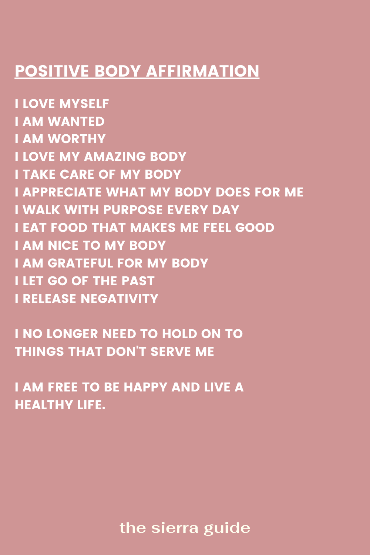 Positive Body Image Affirmation